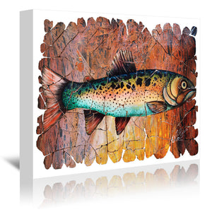 Vintage Red Trout Fresco by OLena Art Wrapped Canvas