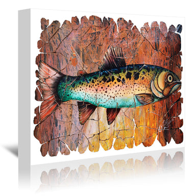 Vintage Red Trout Fresco by OLena Art Wrapped Canvas - Wrapped Canvas - Americanflat