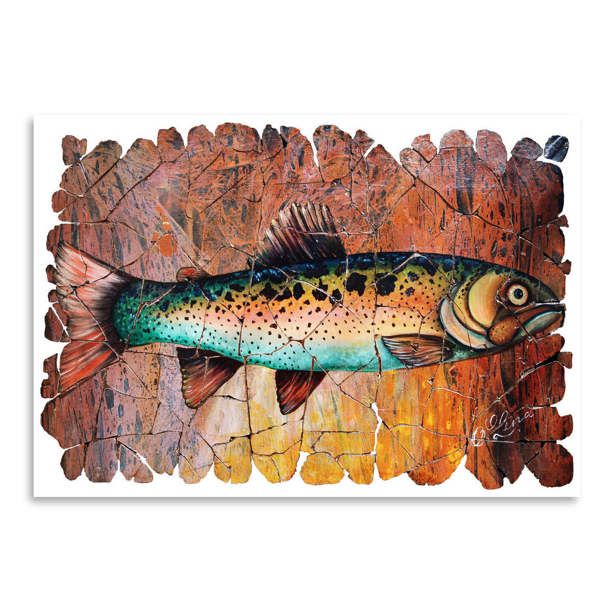 Vintage Red Trout Fresco by OLena Art  Print - Art Print - Americanflat