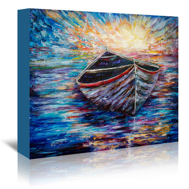 Wooden Boat At Sunrise by OLena Art Wrapped Canvas - Wrapped Canvas - Americanflat