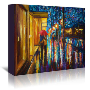 Love In The Rain by OLena Art Wrapped Canvas