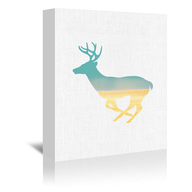 Deer And Plains by Annie Bailey Wrapped Canvas - Wrapped Canvas - Americanflat