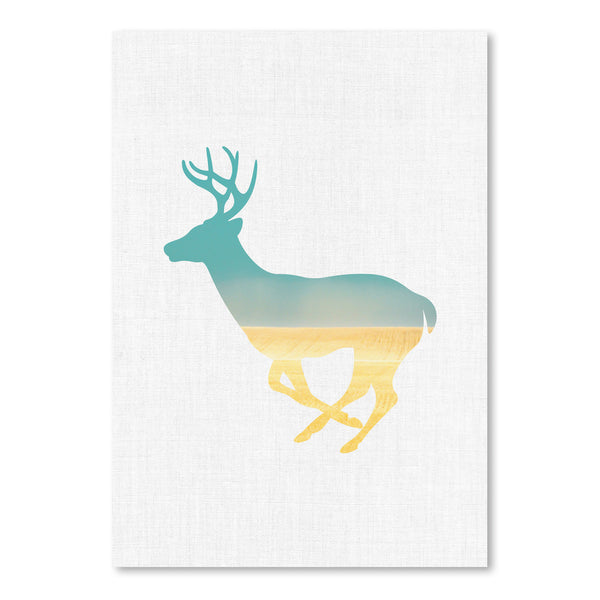 Deer And Plains by Annie Bailey Art Print