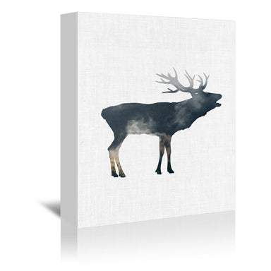 Elk And Forest by Annie Bailey Wrapped Canvas - Wrapped Canvas - Americanflat