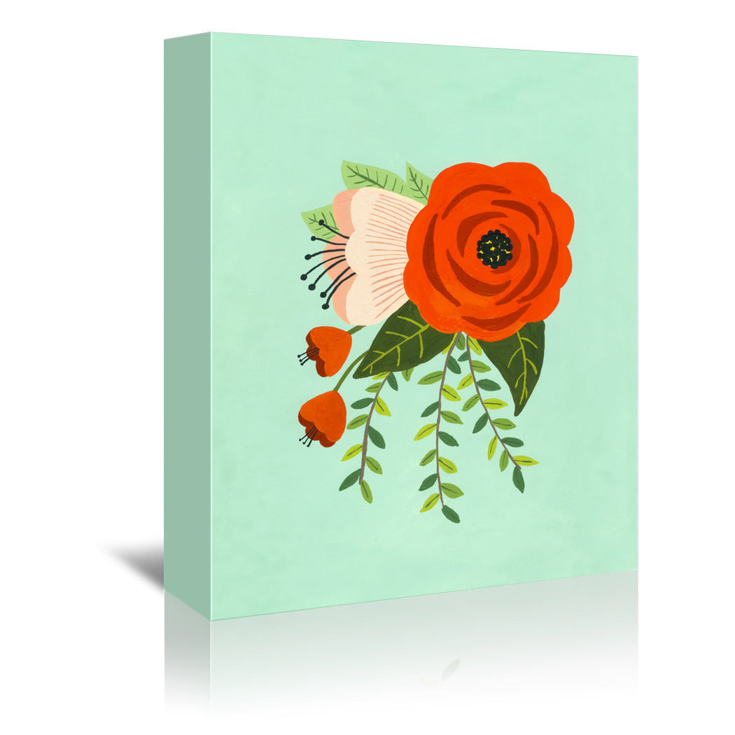 Folk Art Flowers No 2 by Annie Bailey Wrapped Canvas - Wrapped Canvas - Americanflat