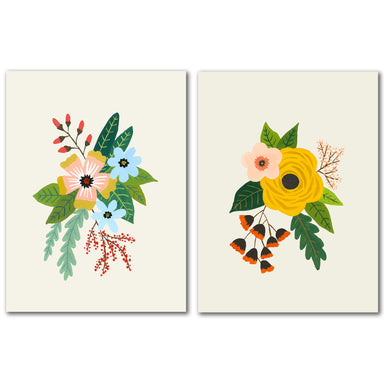 Folk Art Flowers by Annie Bailey - 2 Piece Wrapped Canvas Set - Americanflat