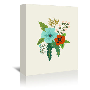 Folk Art Flowers No 5 by Annie Bailey Wrapped Canvas - Wrapped Canvas - Americanflat