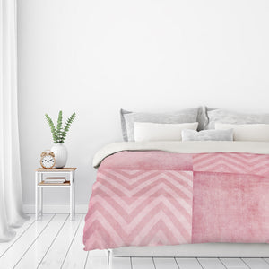 Dusty Pink Chevron by Ingrid Beddoes Duvet Cover