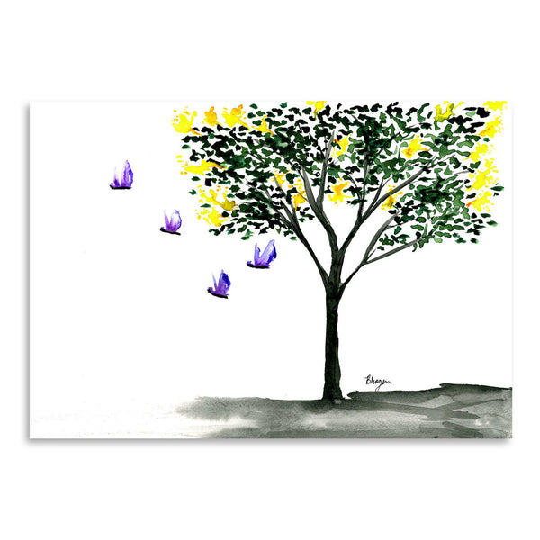 Butterflies and Lilacs by Brazen Design Studio Art Print