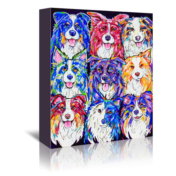 Collies in Color by Eve Izzett Wrapped Canvas
