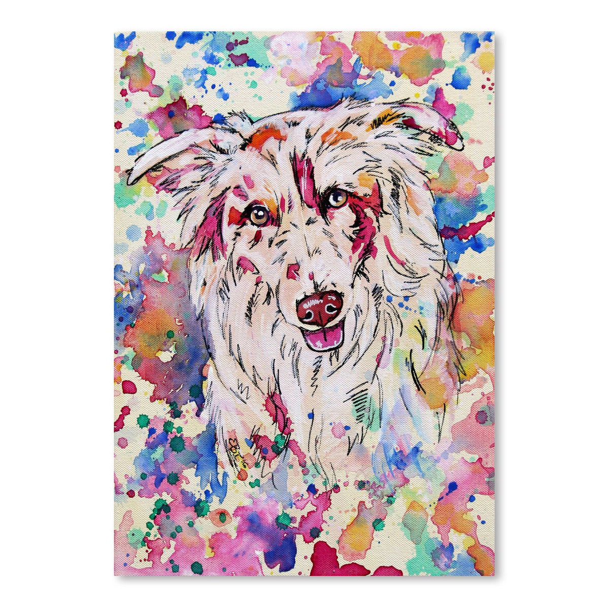 Red Merle Collie Portrait by Eve Izzett Art Print - Art Print - Americanflat