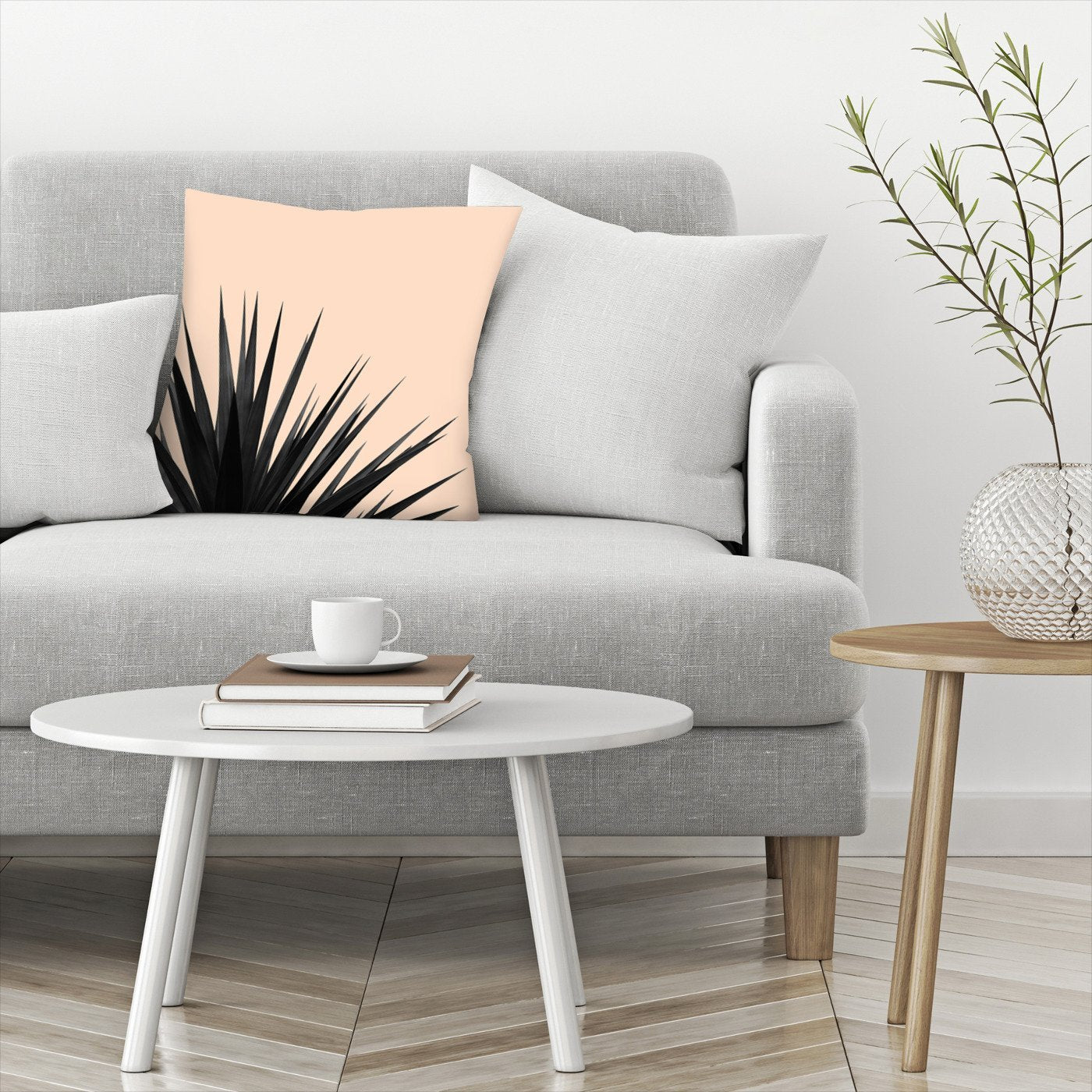Black Palms On Pink by Emanuela Carratoni Decorative Pillow - Decorative Pillow - Americanflat