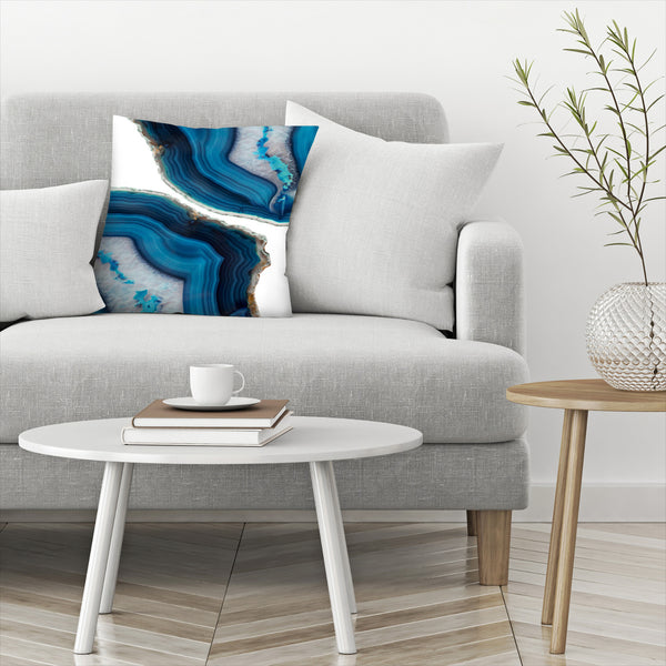 Blue Agate by Emanuela Carratoni Decorative Pillow