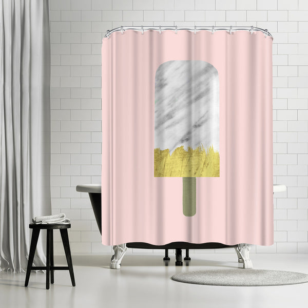 Carrara Marble And Gold Popsicle by Emanuela Carratoni Shower Curtain