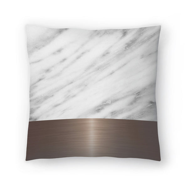 Copper On Marble by Emanuela Carratoni Decorative Pillow
