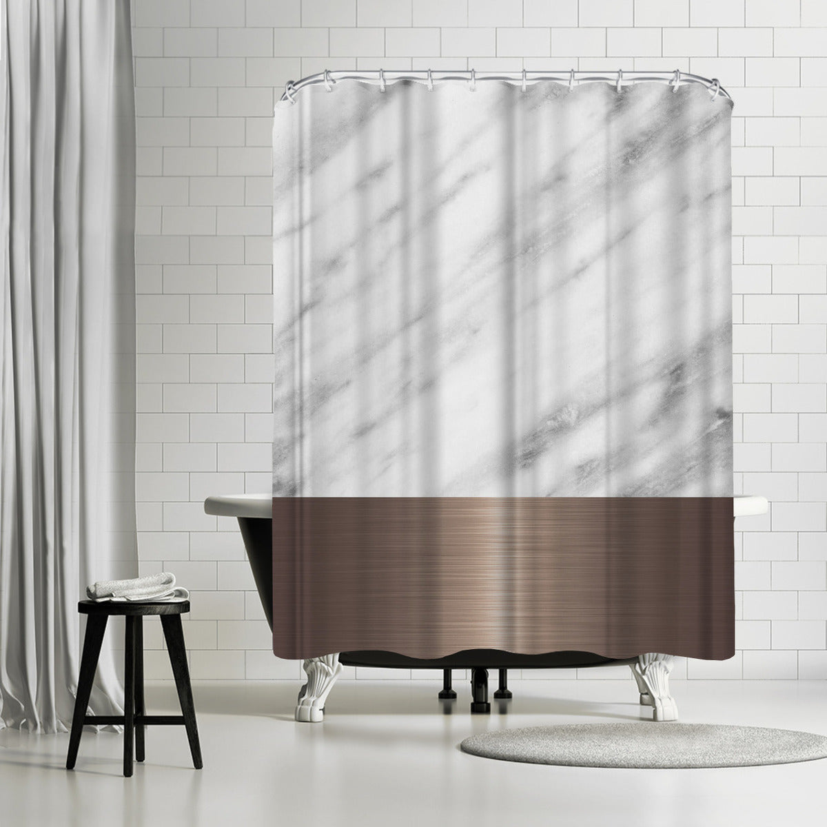 Copper On Marble by Emanuela Carratoni Shower Curtain - Shower Curtain - Americanflat