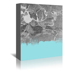 Crayon Marble With Light Blue by Emanuela Carratoni Wrapped Canvas