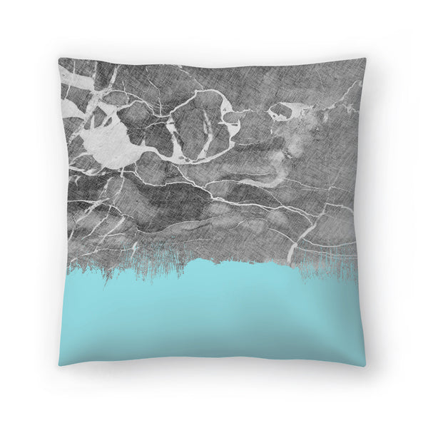 Crayon Marble With Light Blue by Emanuela Carratoni Decorative Pillow