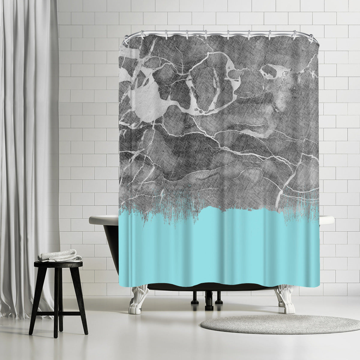 Crayon Marble With Light Blue by Emanuela Carratoni Shower Curtain - Shower Curtain - Americanflat