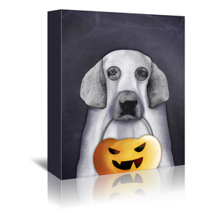 Doggy The Pooh As Ghost by Emanuela Carratoni Wrapped Canvas