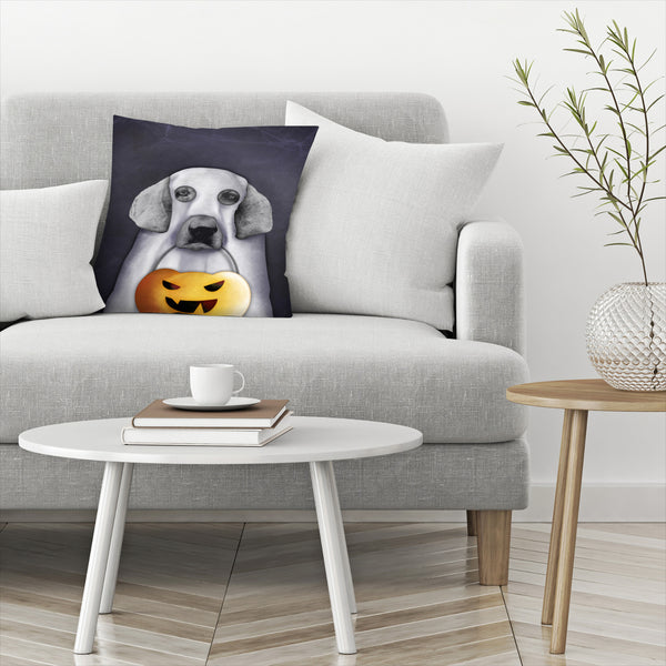 Doggy The Pooh As Ghost by Emanuela Carratoni Decorative Pillow