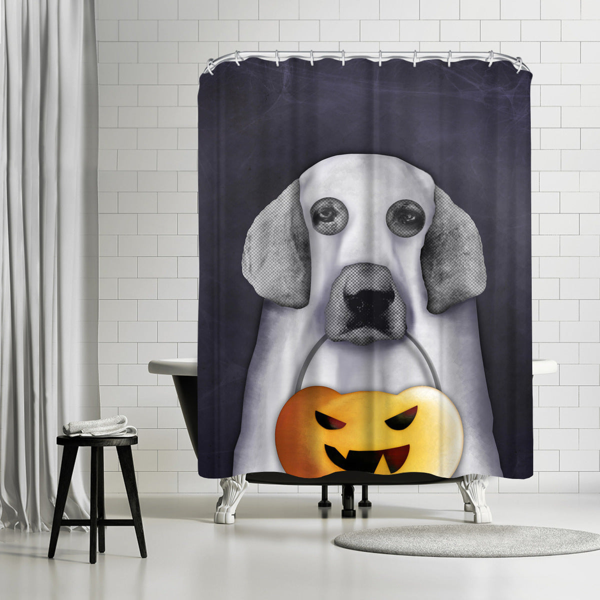Doggy The Pooh As Ghost by Emanuela Carratoni Shower Curtain -  - Americanflat