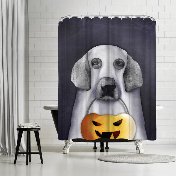 Doggy The Pooh As Ghost by Emanuela Carratoni Shower Curtain