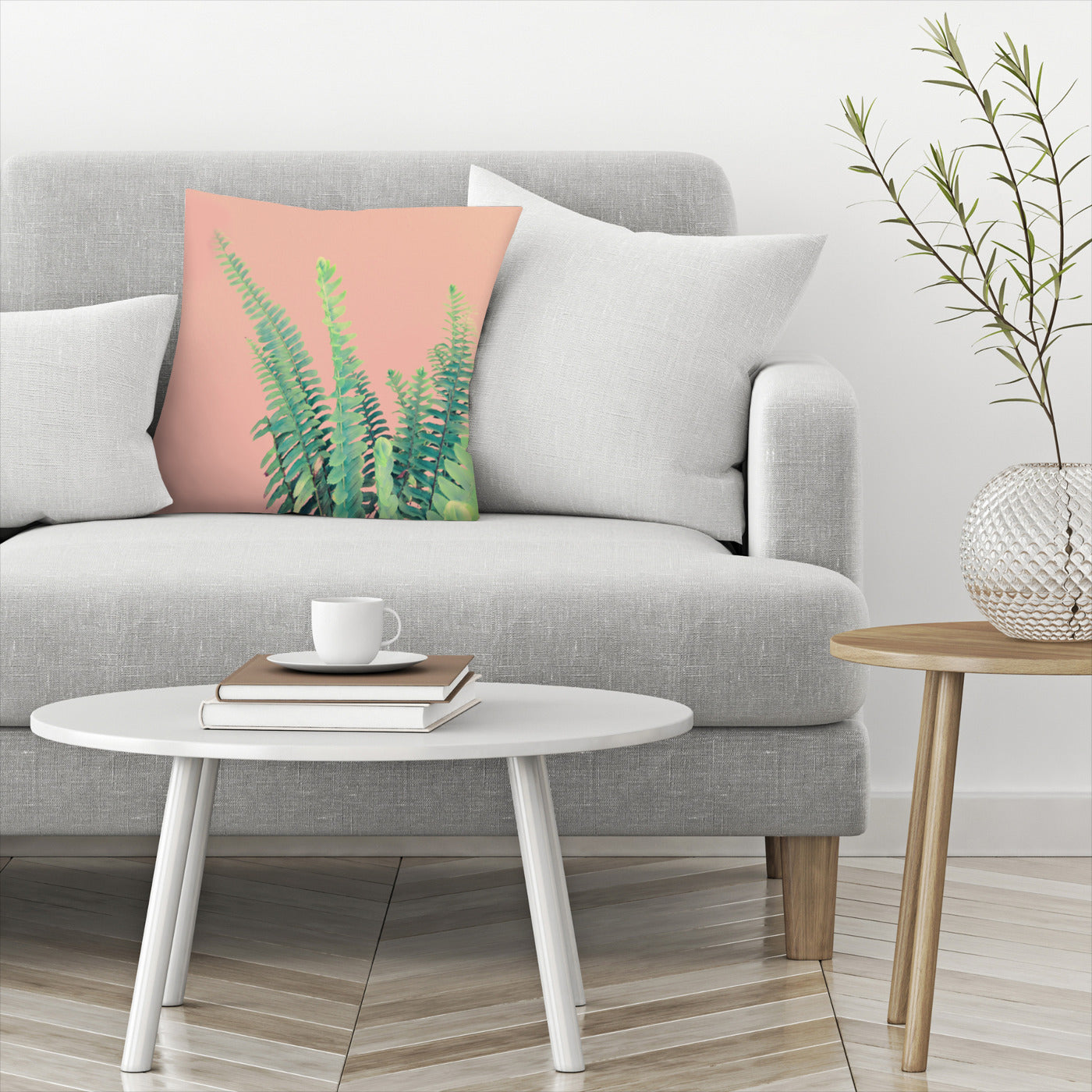 Ferns On Pink by Emanuela Carratoni Decorative Pillow - Decorative Pillow - Americanflat