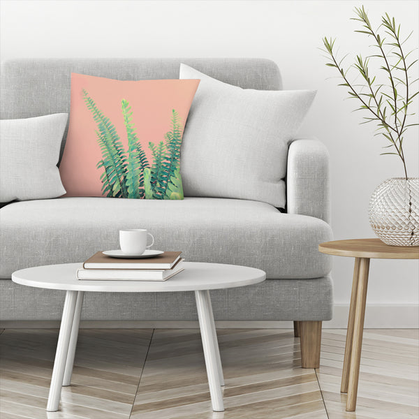 Ferns On Pink by Emanuela Carratoni Decorative Pillow