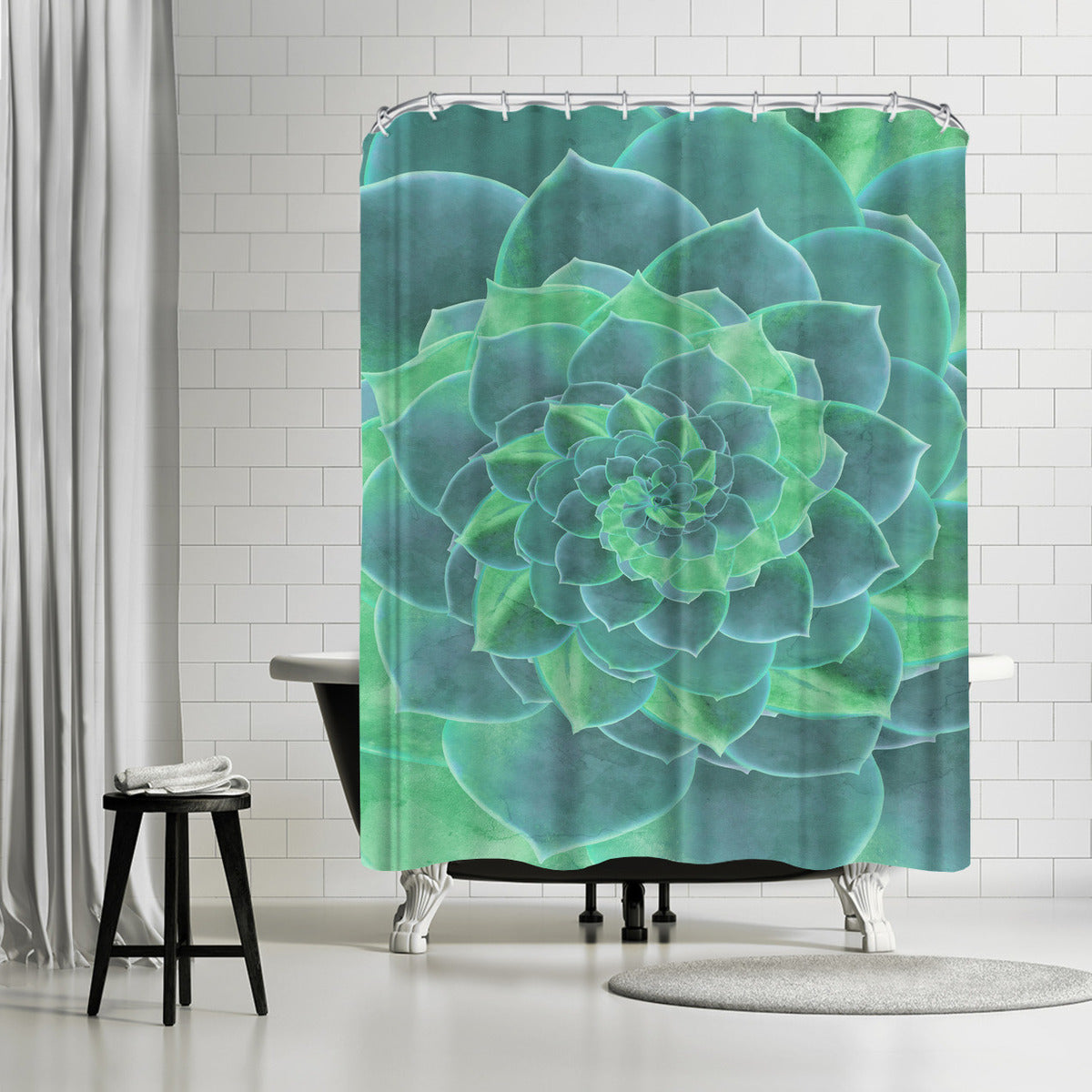 Geoemtric Succulent by Emanuela Carratoni Shower Curtain -  - Americanflat