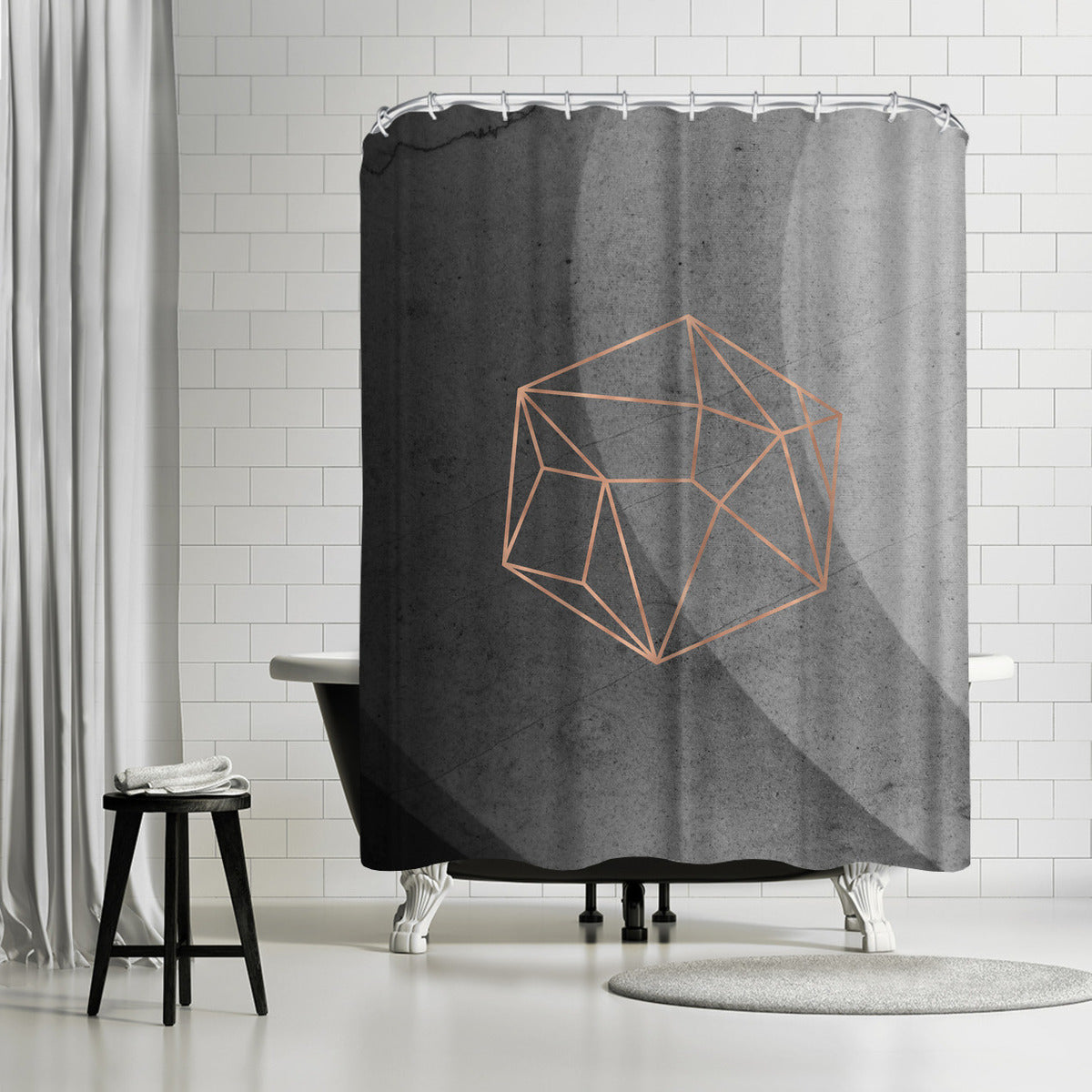Geometric Solids On Marble by Emanuela Carratoni Shower Curtain -  - Americanflat