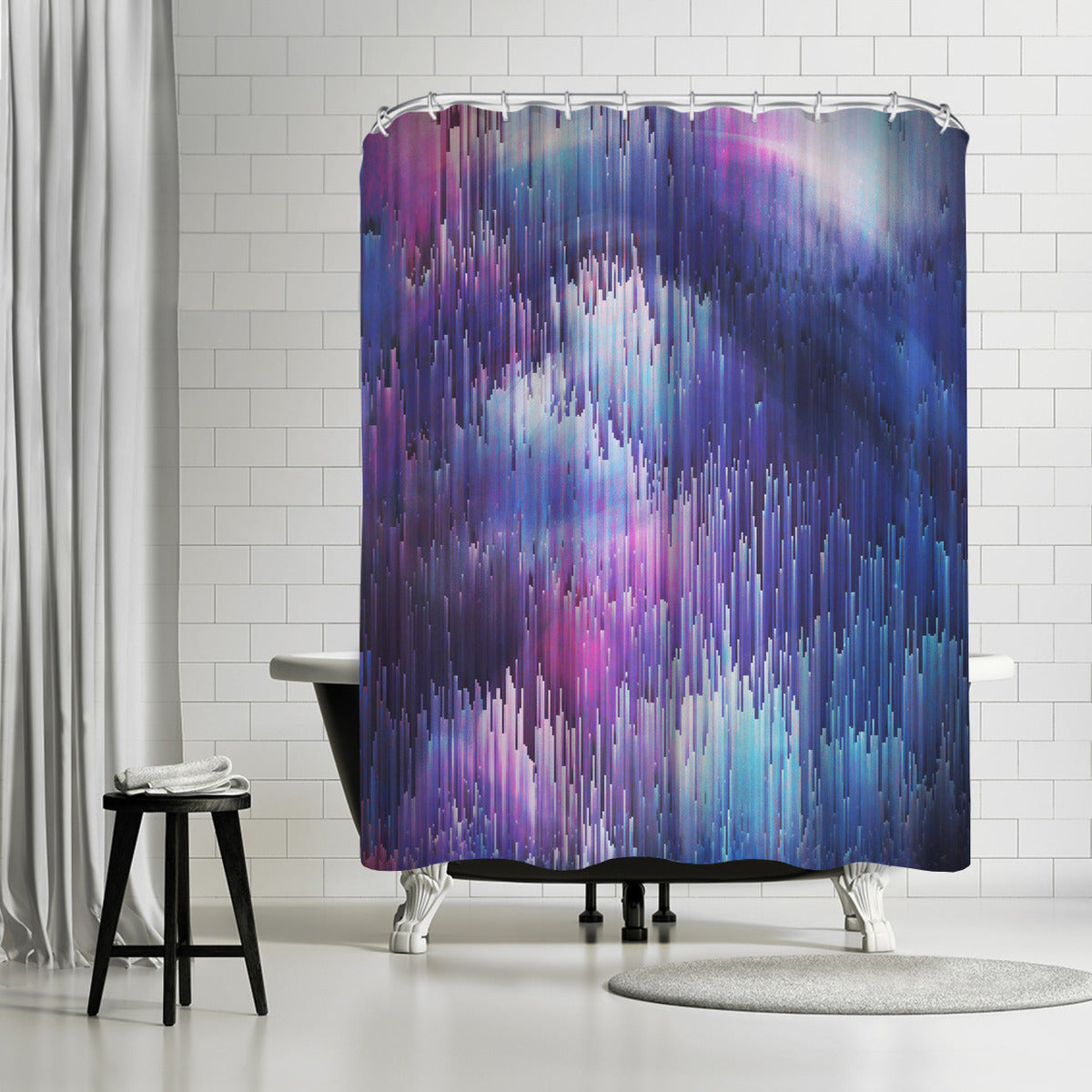 Glitch Galaxy by Emanuela Carratoni Shower Curtain -  - Americanflat
