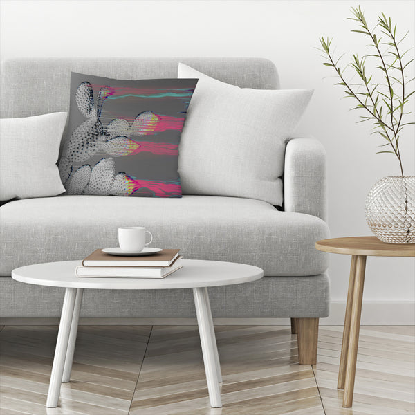 Glitched Cactus by Emanuela Carratoni Decorative Pillow