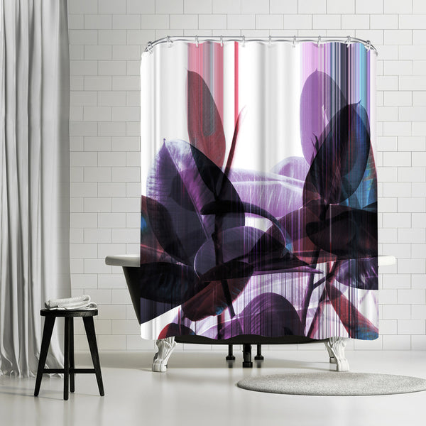 Glitches On Greenery by Emanuela Carratoni Shower Curtain