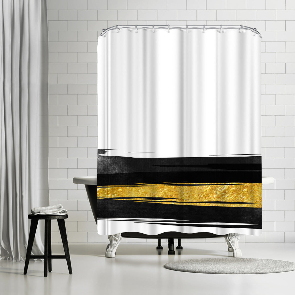 Golden Stripes by Emanuela Carratoni Shower Curtain - Shower Curtain - Americanflat