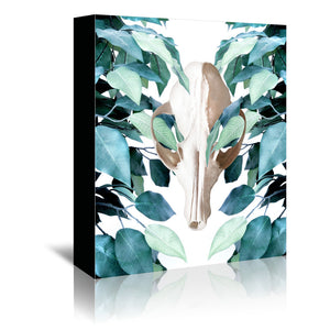 Greenery Skull by Emanuela Carratoni Wrapped Canvas