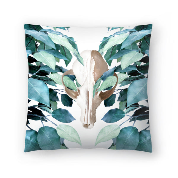 Greenery Skull by Emanuela Carratoni Decorative Pillow