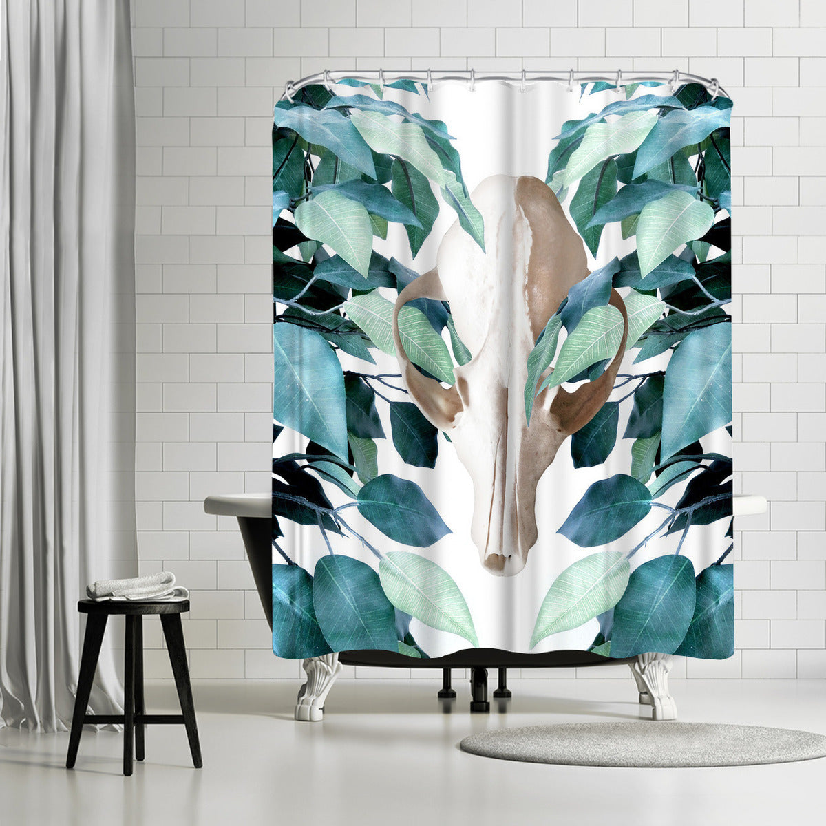 Greenery Skull by Emanuela Carratoni Shower Curtain -  - Americanflat