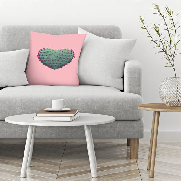 Heart Of Cactus by Emanuela Carratoni Decorative Pillow