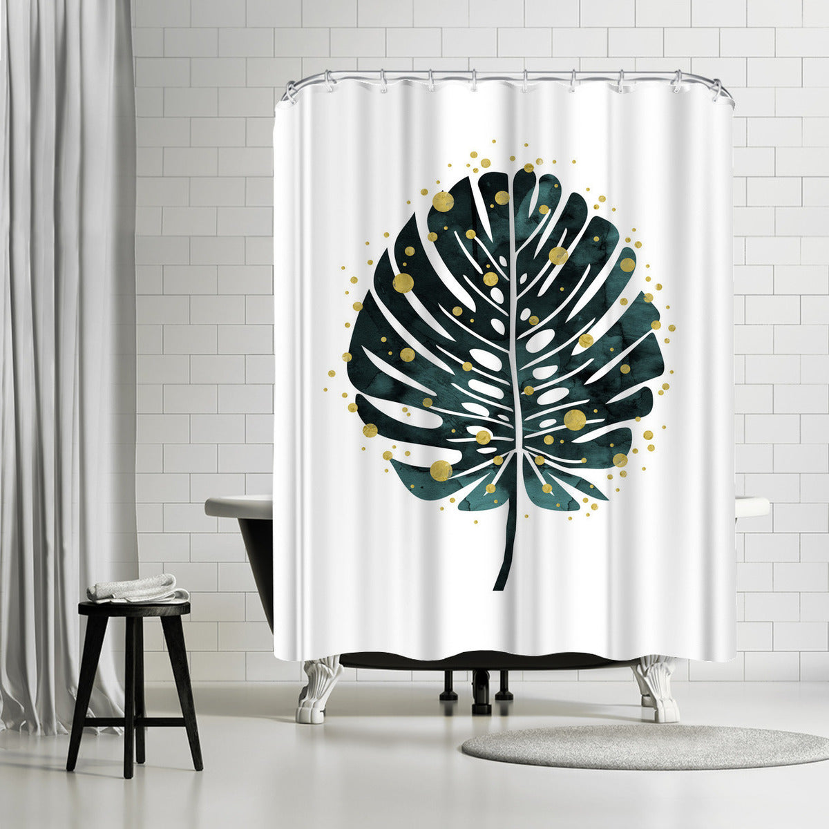 Holiday Monstera by Emanuela Carratoni Shower Curtain