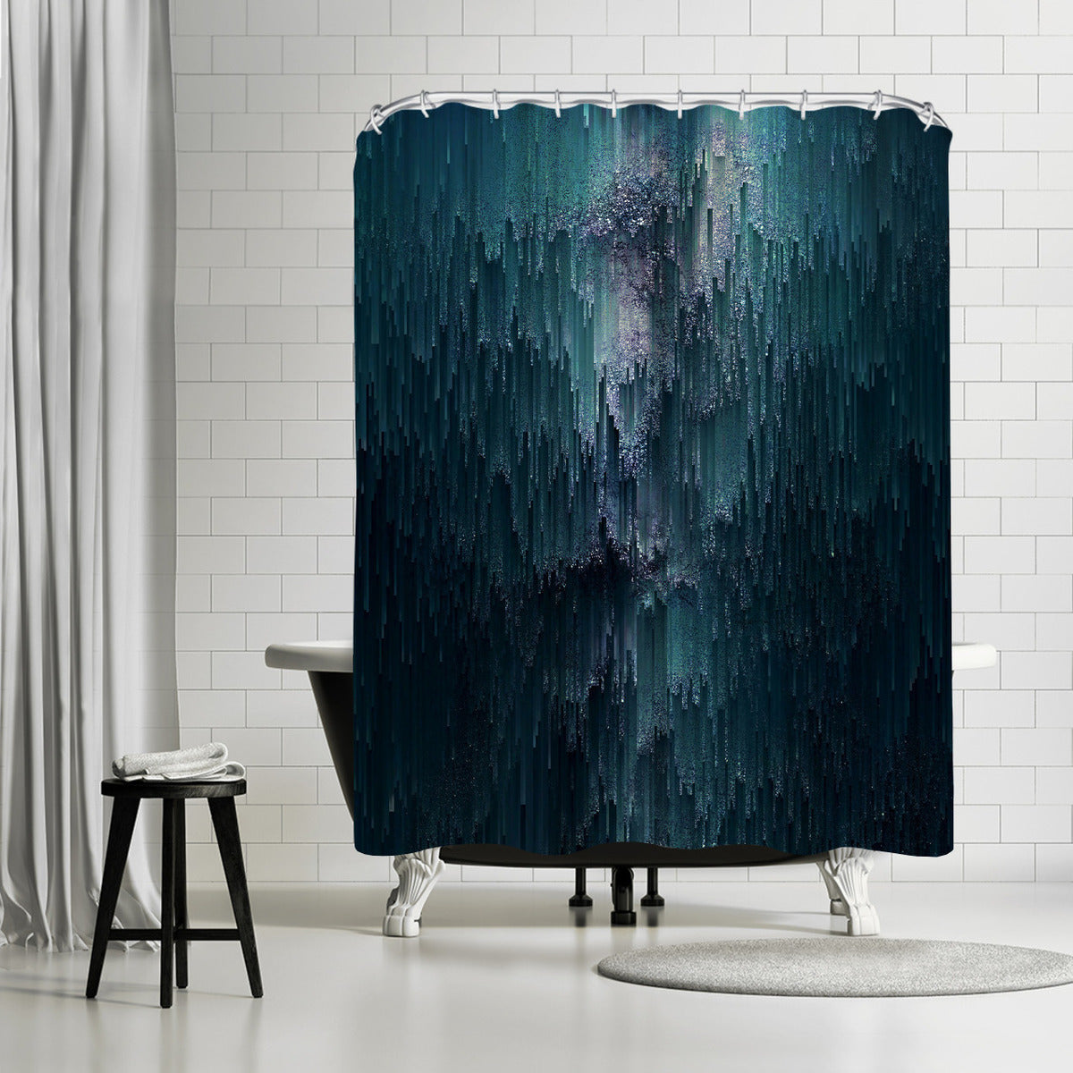 Iced Glitches by Emanuela Carratoni Shower Curtain -  - Americanflat