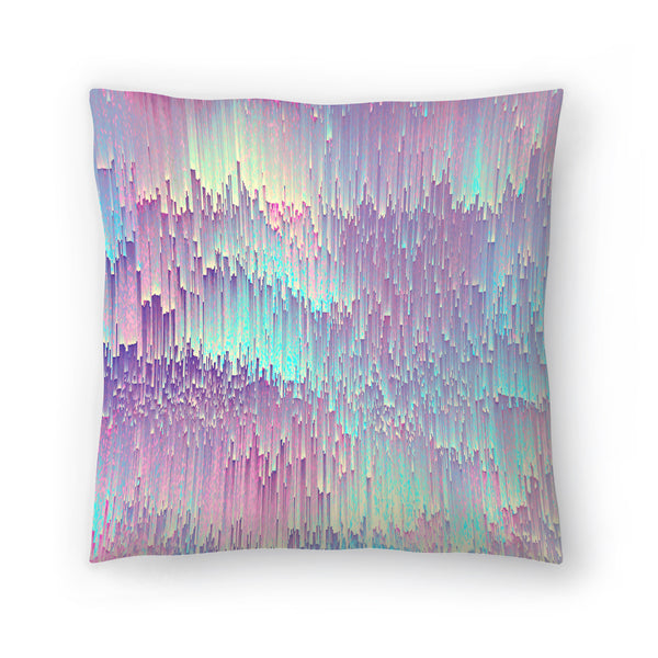 Iridescent Glitches by Emanuela Carratoni Decorative Pillow