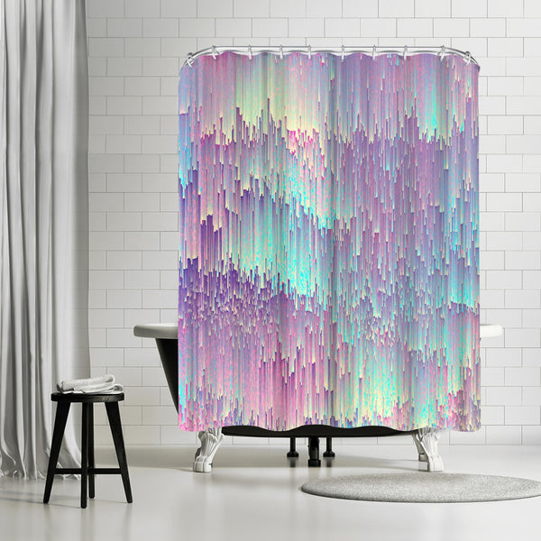 Iridescent Glitches by Emanuela Carratoni Shower Curtain