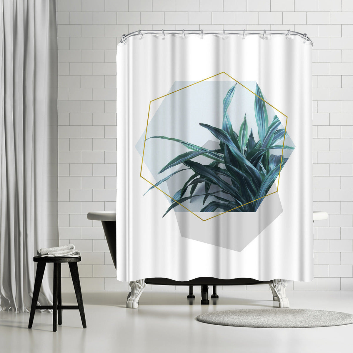 Leaves Geometry by Emanuela Carratoni Shower Curtain - Shower Curtain - Americanflat