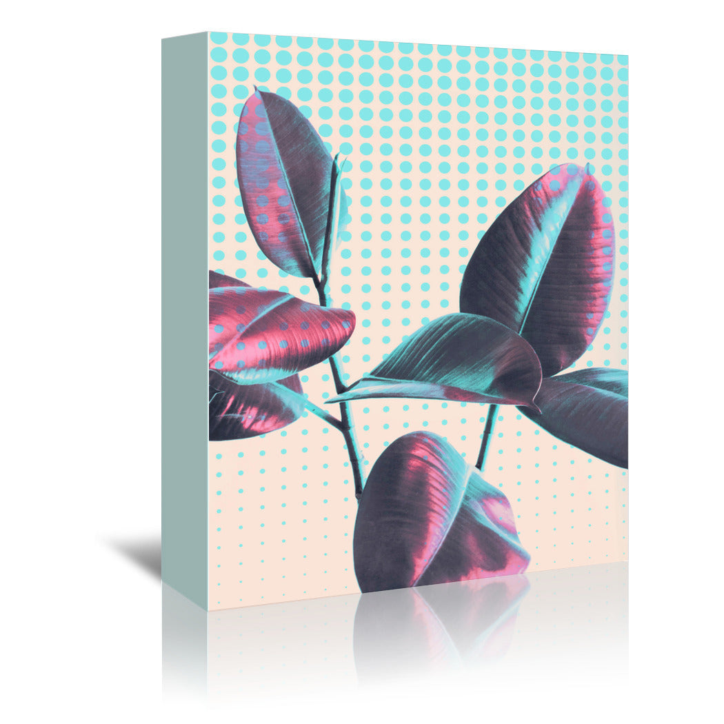 Leaves On Polka Dots by Emanuela Carratoni Wrapped Canvas - Wrapped Canvas - Americanflat
