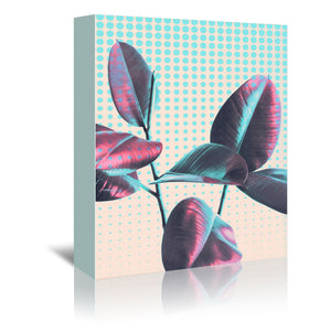 Leaves On Polka Dots by Emanuela Carratoni Wrapped Canvas