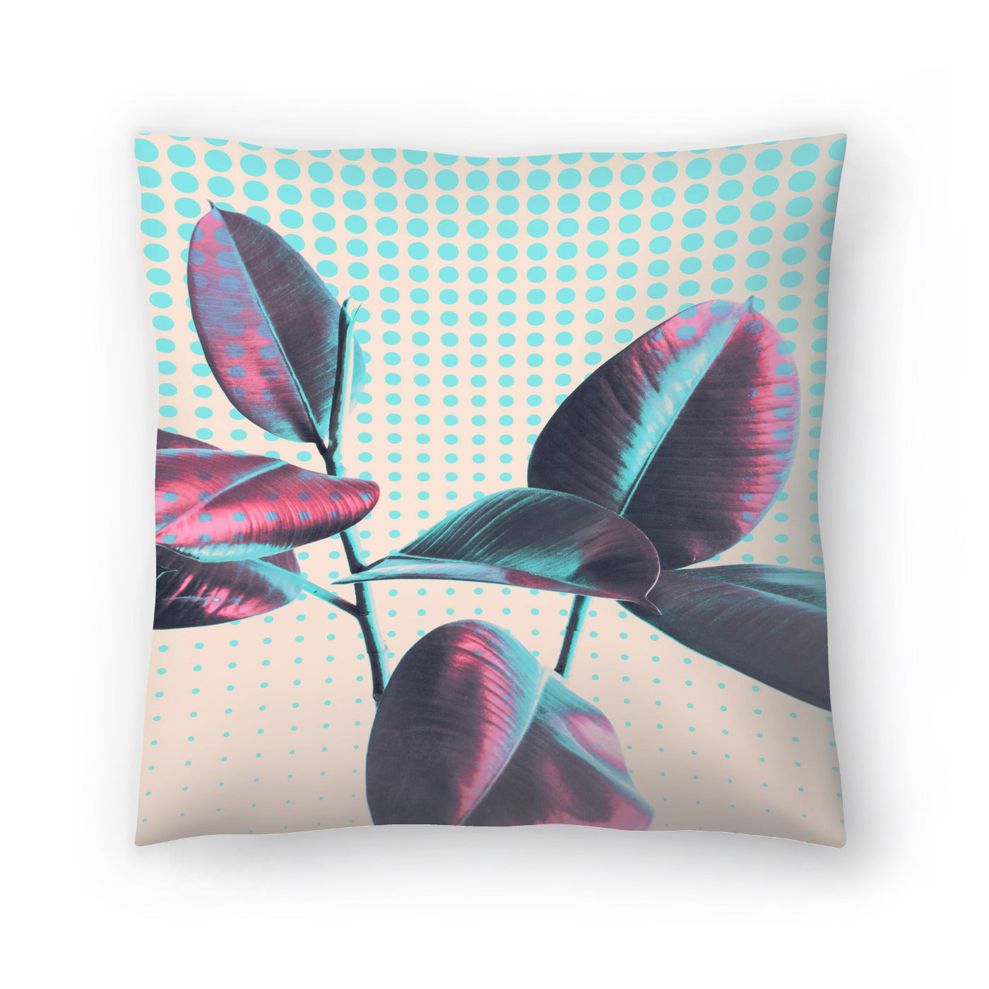 Leaves On Polka Dots by Emanuela Carratoni Decorative Pillow - Decorative Pillow - Americanflat