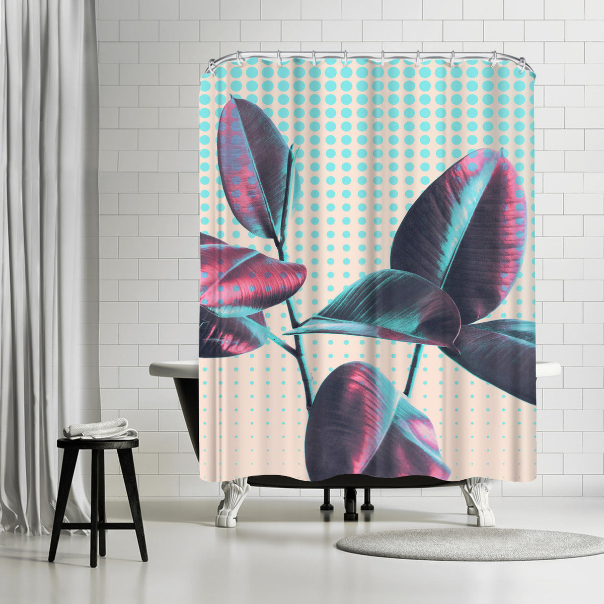 Leaves On Polka Dots by Emanuela Carratoni Shower Curtain - Shower Curtain - Americanflat