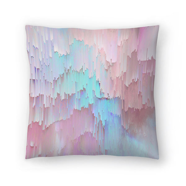 Light Blue And Pink Glitches by Emanuela Carratoni Decorative Pillow