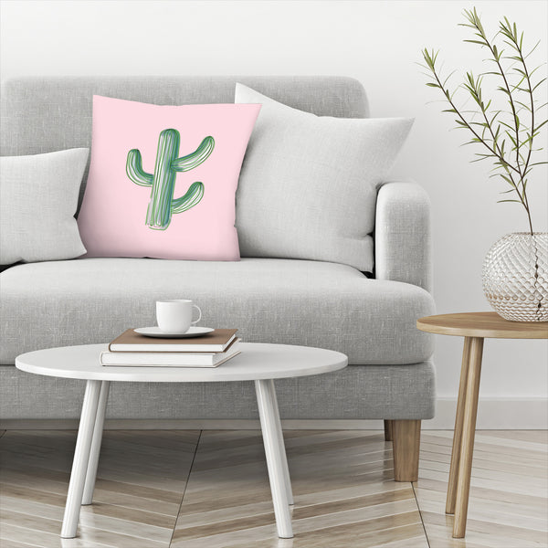Lonely Cactus On Pink by Emanuela Carratoni Decorative Pillow